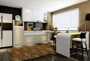 精美现代风格精致厨房装修效果图大全,厨房设计最主要的是功能性,满足基础的需求设计,浅色的橱柜设计,简单舒适,将餐厅也加入其中,方便。