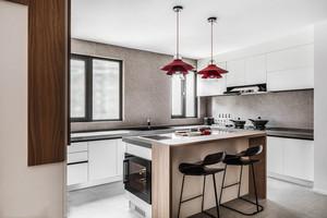 现代风格时尚精美开放式厨房吧台装修图