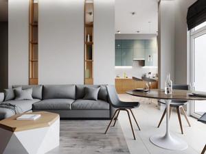 简单温馨简约风格公寓设计装修效果图,  客厅装修采用灰色的沙发设计,白色和原木色的搭配简单舒适,隐藏式书架设计,简单实用。