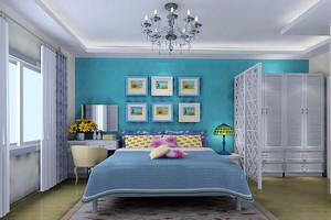 韩式田园精美卧室设计装修效果图,蓝色的背景墙设计,白色精致的家具设计,浅色的布艺床单设计,整个空间都透露出清新舒适的感觉。