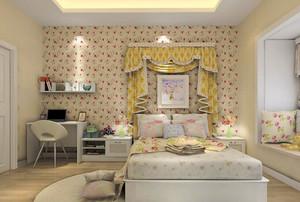 韩式田园精美卧室设计装修效果图