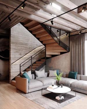 后现代风格88平米复式楼室内装修效果图