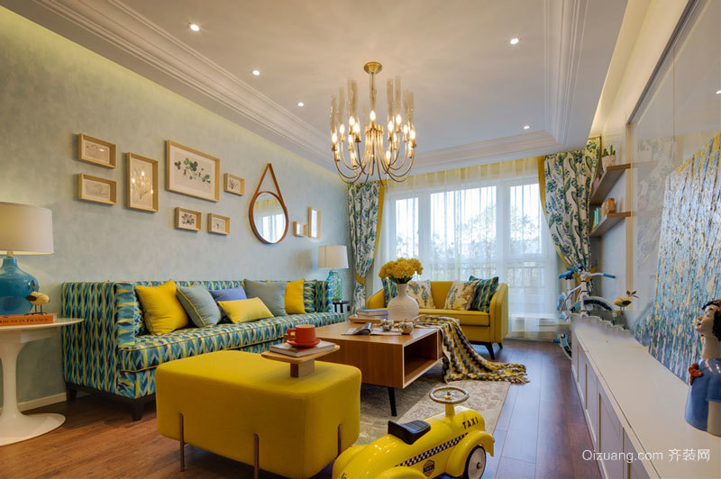 时尚精美清新风格客厅设计装修实景图