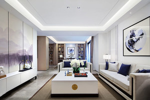 时尚精美中式风格客厅设计装修实景图