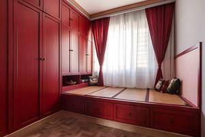 中式风格红色精致榻榻米设计装修效果图
