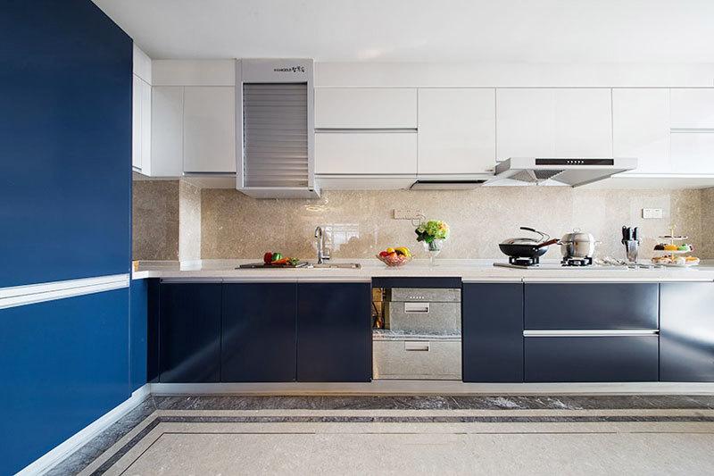时尚现代风格蓝色精美厨房装修效果图