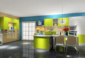 现代简约风格绿色精美厨房装修效果图