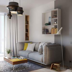 简单风格55平米单身公寓室内设计装修图