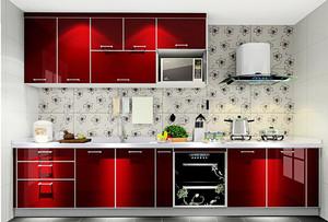 红色时尚现代厨房设计装修效果图,红色代表着积极乐观,情绪波动大起大落,中国人特别喜欢红色,红色寓意很好,红红火火的意思。