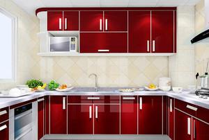 红色时尚现代厨房设计装修效果图大全