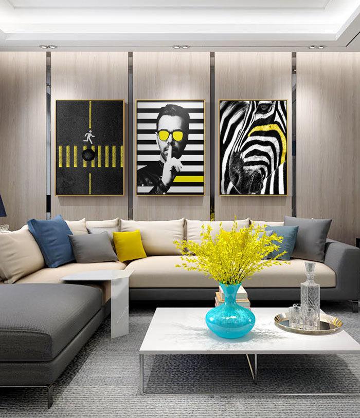 现代风格时尚客厅背景墙设计装修效果图