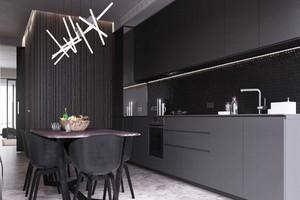 现代风格时尚黑色单身公寓设计装修效果图