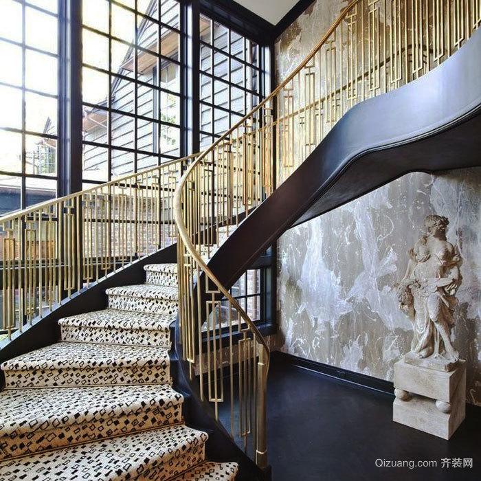 奢华精美新古典风格别墅楼梯装修效果图