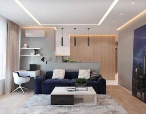 57平米简约风格单身公寓设计装修效果图
