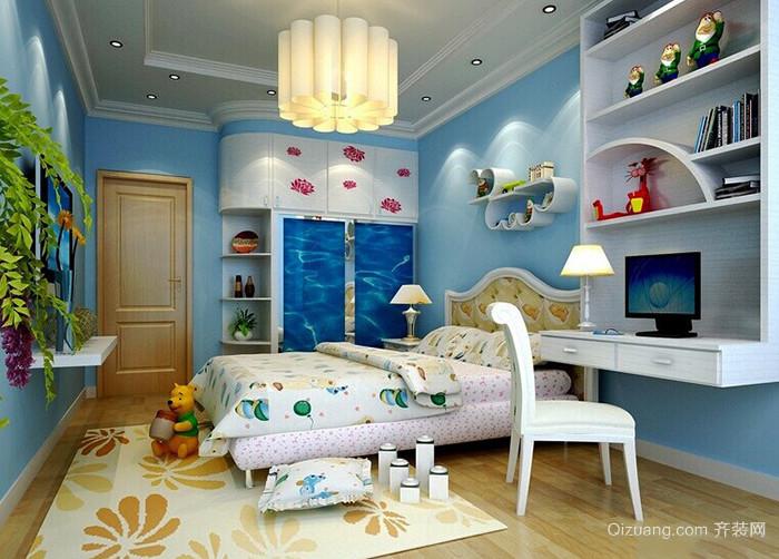 地中海风格清爽蓝色儿童房装修效果图