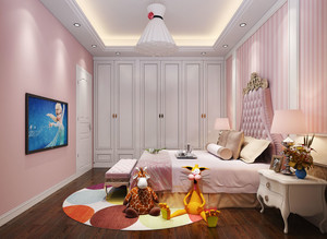 粉色欧式风格精美儿童房卧室装修图