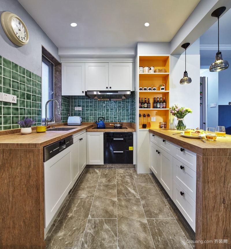 田园风格自然开放式厨房设计装修效果图