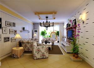 欧式田园风格温馨82平米两室两厅装修效果图
