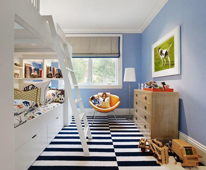 20平米清新蓝色儿童房设计装修效果图