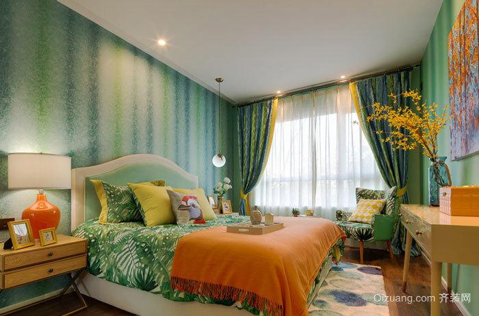 清新风格绿色卧室设计装修效果图