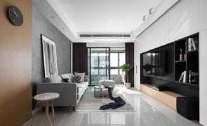 现代风格时尚冷色调客厅设计装修效果图