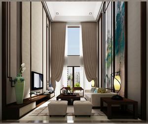 清雅新中式风格精致别墅室内装修效果图,将中式古典美的中式屏风作为客厅的背景墙,新中式家具将实木和现在软装搭配,看起来清新素雅。