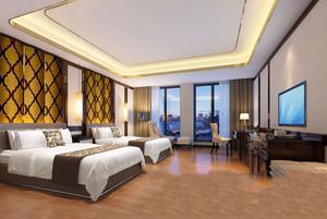 中式风格精致五星级酒店客房装修效果图