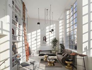 北欧风格简约客厅书房设计装修效果图