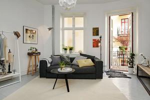 北欧风格单身公寓客厅设计装修效果图