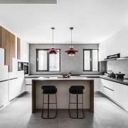 现代风格精致开放式厨房吧台装修图