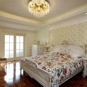 欧式田园风格浪漫别墅卧室装修效果图