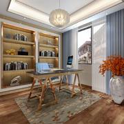 精美典雅新中式风格大户型书房装修效果图