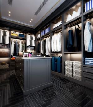 现代风格时尚黑色独立式衣帽间设计装修图