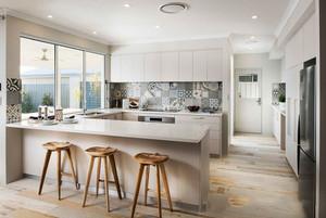 简约风格精美开放式厨房吧台设计装修效果图
