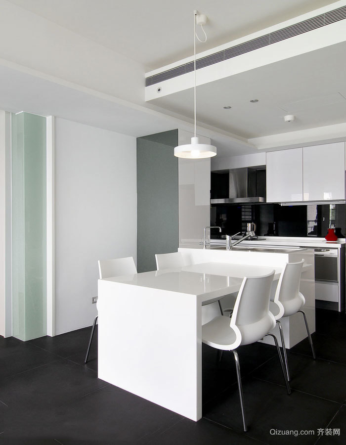 现代简约风格白色开放式厨房餐厅装修效果图