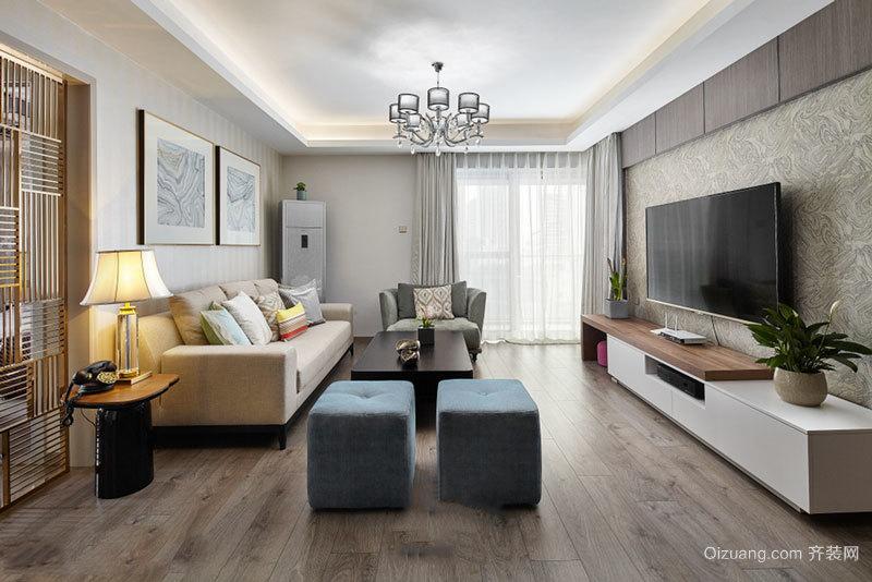 简欧风格温馨精美客厅吊顶设计装修效果图