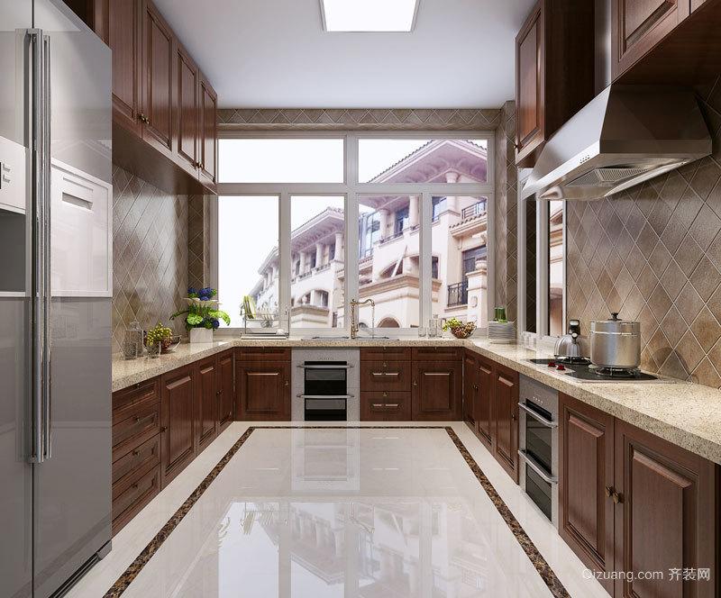 欧式风格精美U型厨房橱柜设计装修效果图