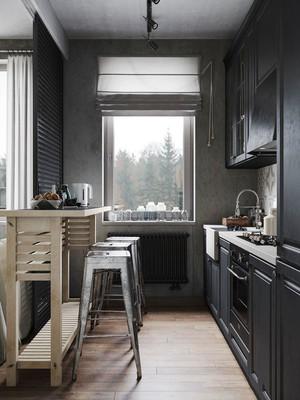 后现代风格精美开放式厨房吧台装修效果图