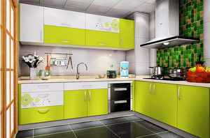 简约风格小户型绿色厨房橱柜装修效果图,小户型厨房装修,采用现代风格装饰,绿色的橱柜设计,让室内看起来清新舒适,合理的设计很重要哦。
