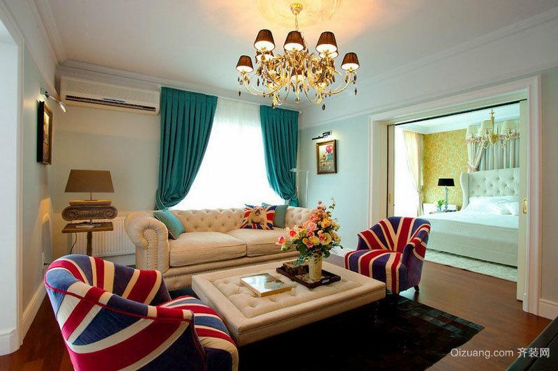 精美浪漫美式风格客厅窗帘设计装修图