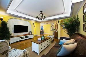 黄色主调美式田园风格80平米室内设计装修实景图