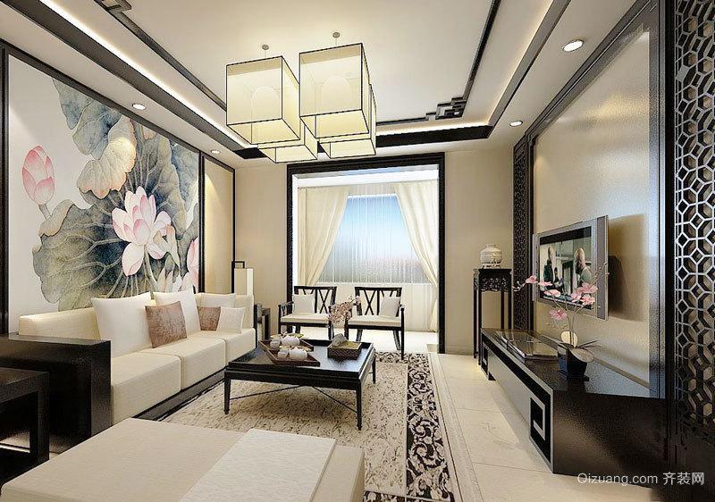 古典精美中式风格客厅背景墙装修效果图