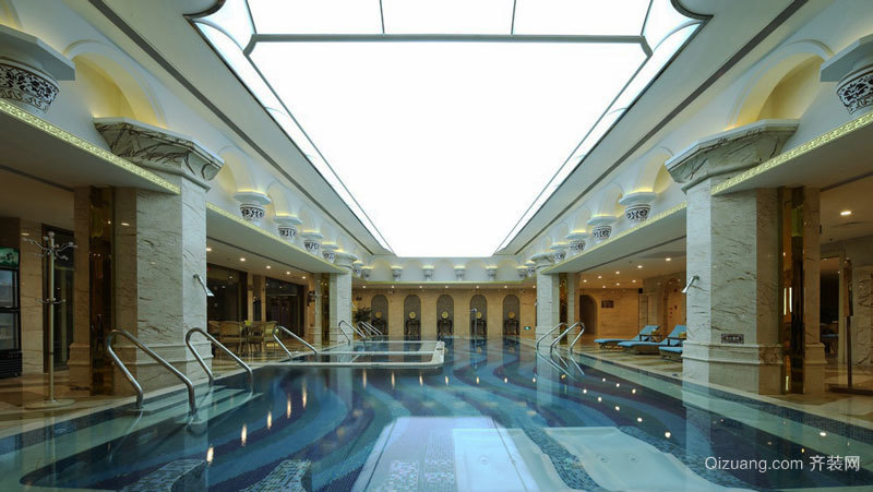 欧式风格精致五星级酒店游泳池装修效果图
