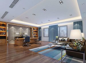 现代风格30平米老板办公室布置效果图