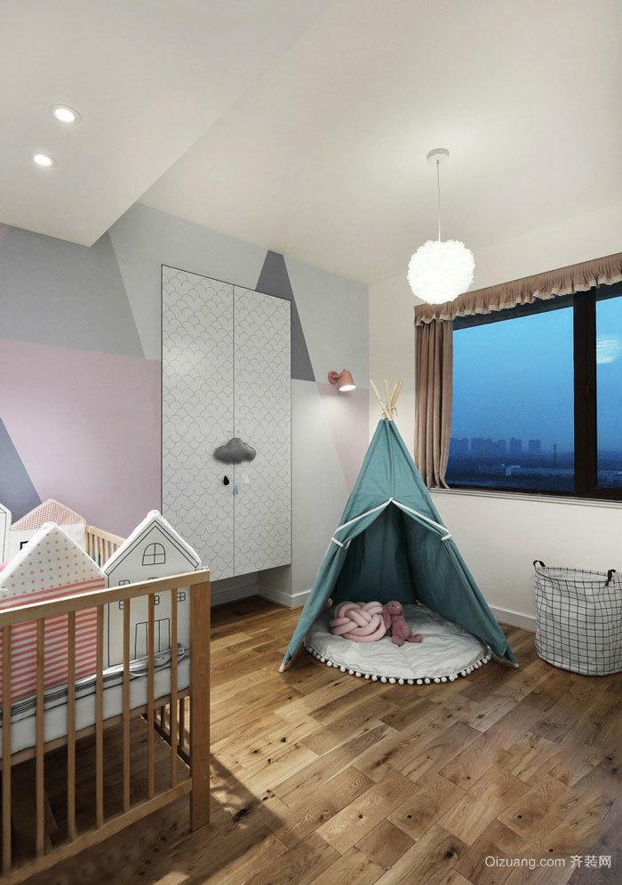 北欧风格简单清新儿童房设计装修实景图
