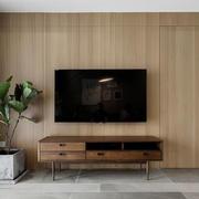 宜家简单原木色客厅电视背景墙装修效果图
