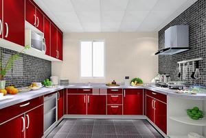 现代风格喜气红色厨房橱柜设计装修效果图