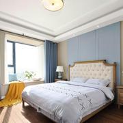 简欧风格蓝色清新卧室窗帘设计装修效果图