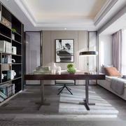 中式古典时尚书房飘窗设计装修效果图