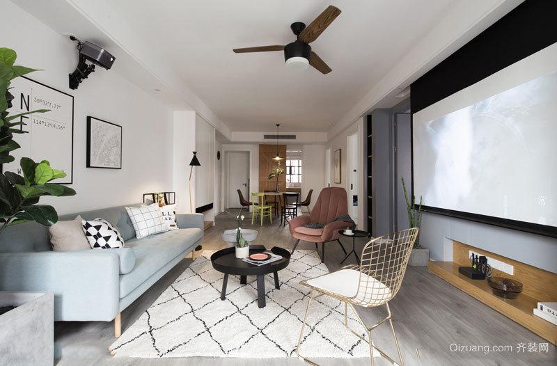 北欧风格客厅家庭影院设计装修效果图